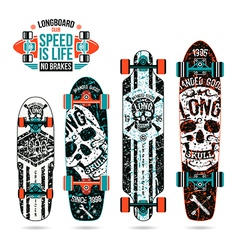 Set of skull prints on longboard vector image