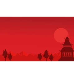 Silhouette of pavilion on the mountain scenery vector