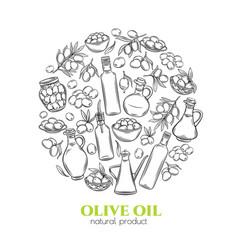 sketch olive oil vector image
