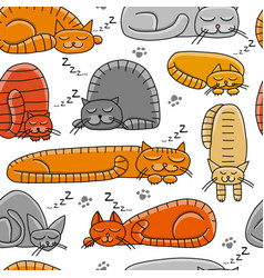 sleeping cats seamless pattern for your design vector image