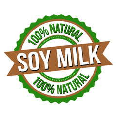 soy milk label or sticker vector image