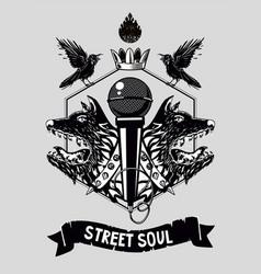 street soul music poster template hip-hop vector image