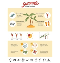 Summer infographics elements vector image