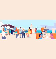 Summer outdoor cafe seaside restaurant people in vector