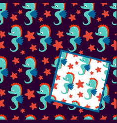 two seamless patterns with sea horse on white and vector image