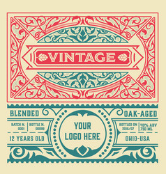 vintage liquor label template layered vector image