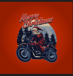 vintage santa claus riding a motorcycle merry vector image