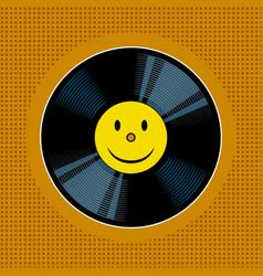 vinyl record with yellow smile pop art vector image