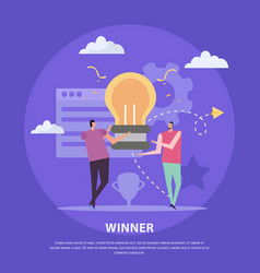 winning idea flat background vector image