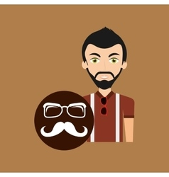 young hipster man long mustache and glasses vector image