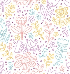 Colorful outline floral seamless pattern vector image vector image