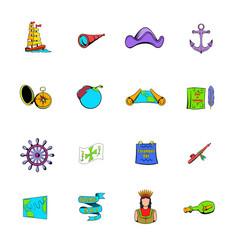 columbus day set icons set cartoon vector image vector image