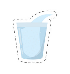 Glass cup water fresh cut line vector