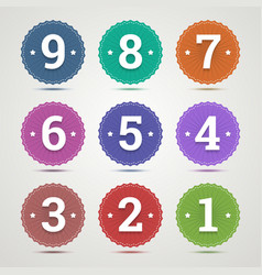 Set of round emblems with numbers vector image vector image