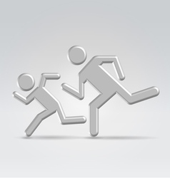 Silver icon running children vector image vector image