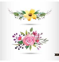 Watercolor flowers with foliage and branch vector image