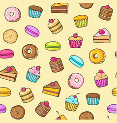 kawaii seamless background of sweet and dessert vector image vector image