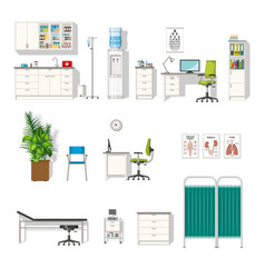 set of various medical furniture vector image vector image