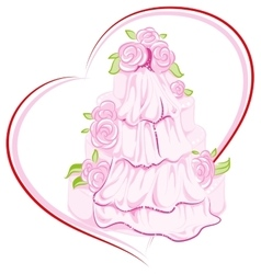 Wedding cake with flowers and veil vector