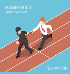 businessman passing baton in relay race vector image vector image