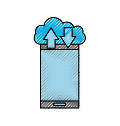 cloud computing smartphone arrow up and download vector image