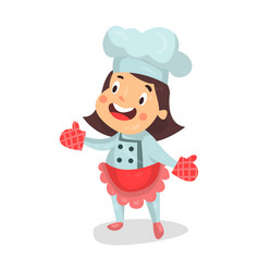 cute cartoon little girl chef character in red vector image