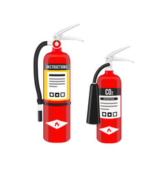 fire extinguishers set in north american style vector image