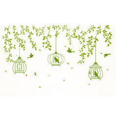 green leaves background with birdcage vector image
