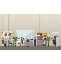 office interior banner in flat style design vector image