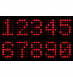 red digits for matrix display vector image vector image