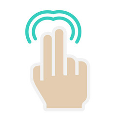 2 finger double tap flat icon touch and gesture vector