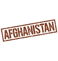 Afghanistan brown square stamp vector image vector image