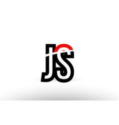 black white alphabet letter js j s logo icon vector image