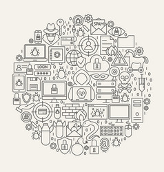 cyber security line icons circle vector image