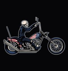 hand drawing skull riding a chopper motorcycle vector image vector image