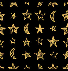 hand drawn star doodles seamless pattern vector image