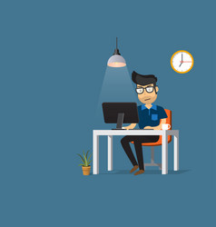 man working on desktop computer and coffee cup vector image