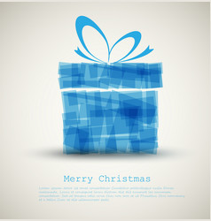 simple christmas card with a blue gift vector image