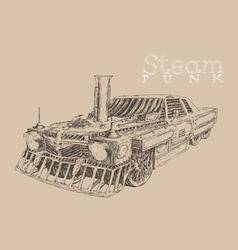 Steam punk car engraving style hand drawn vector