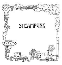 Steampunk frame with industrial machines gears vector image