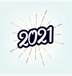 2021 happy new year vintage lettering text vector image