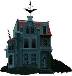 A spooky haunted ghost house vector