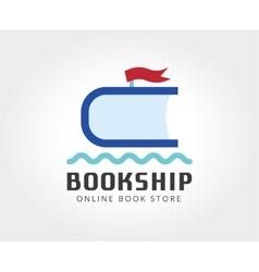 Abstract ship book logo template for branding vector