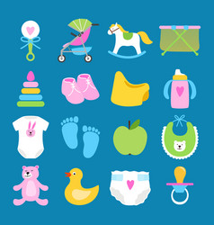 babies set toys clothes and diapers icons vector image