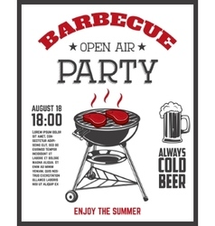 Barbecue open air party flyer template Grill with vector