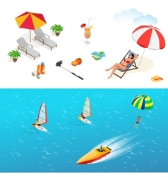 Beach icon set Girl in a swimsuit on a deck chair vector