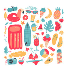 big set summer vacation items accessories for vector image