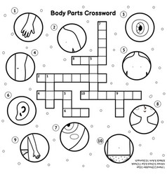 Black and white body parts crossword my body vector