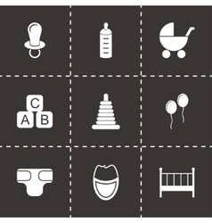 black baby icon set vector image