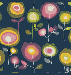 blooming flowers seamless pattern vector image